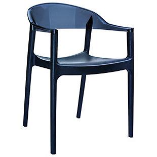 Siesta Outdoor Carmen Modern Dining Chair Black Seat Transparent Black Back (Set of 2), Black/Transparent Black, large