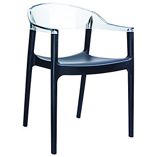 Siesta Outdoor Carmen Modern Dining Chair Black Seat Transparent Clear Back (Set of 2), Black/Transparent Clear, large