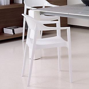 Siesta Outdoor Carmen Modern Dining Chair White Seat Glossy White Back (Set of 2), White/Glossy White, rollover
