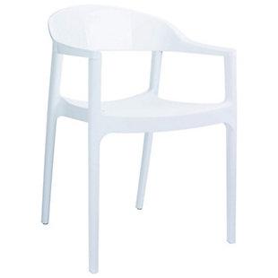 Siesta Outdoor Carmen Modern Dining Chair White Seat Glossy White Back (Set of 2), White/Glossy White, large