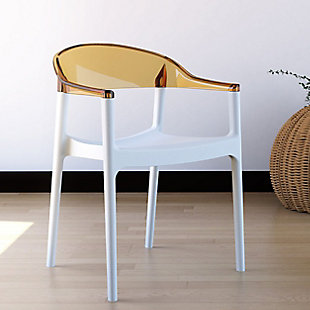 Siesta Outdoor Carmen Modern Dining Chair White Seat Transparent Amber Back (Set of 2), , rollover