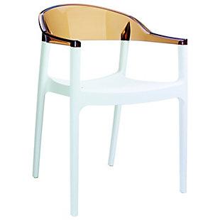 Siesta Outdoor Carmen Modern Dining Chair White Seat Transparent Amber Back (Set of 2), , large