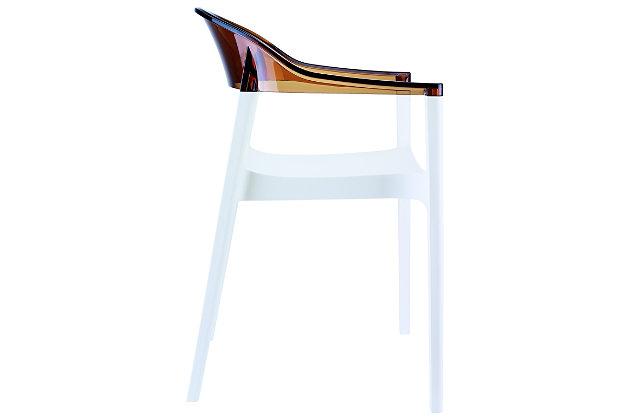 Siesta Outdoor Carmen Modern Dining Chair White Seat Transparent Amber Back (Set of 2), White/Transparent Amber, large