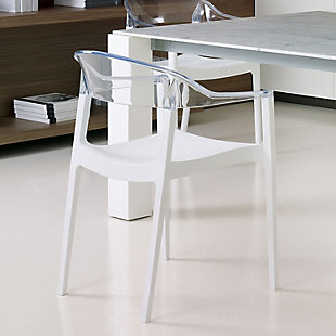 Siesta Outdoor Carmen Modern Dining Chair White Seat Transparent Clear Back (Set of 2), White/Transparent Clear, rollover