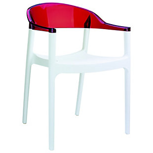 Siesta Outdoor Carmen Modern Dining Chair White Seat Transparent Red Back (Set of 2), White/Transparent Red, large
