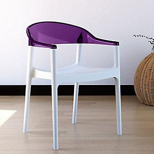 Siesta Outdoor Carmen Modern Dining Chair White Seat Transparent Violet Back (Set of 2), White/Transparent Violet, rollover