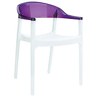 Siesta Outdoor Carmen Modern Dining Chair White Seat Transparent Violet Back (Set of 2), White/Transparent Violet, large