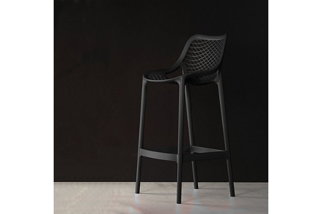 Siesta Outdoor Air Counter Stool Black (Set of 2), Black, large