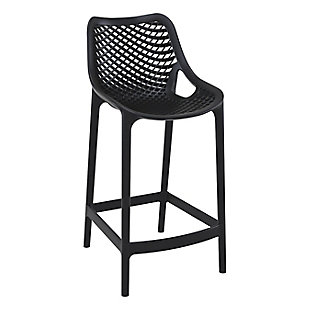 Siesta Outdoor Air Counter Stool Black (Set of 2), Black, large