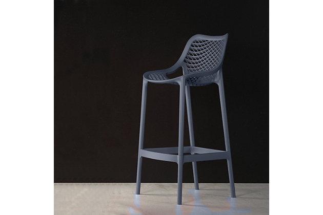 Siesta Outdoor Air Counter Stool Dark Gray (Set of 2), Dark Gray, large