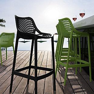 Siesta Outdoor Air Bar Stool Black (Set of 2), Black, rollover