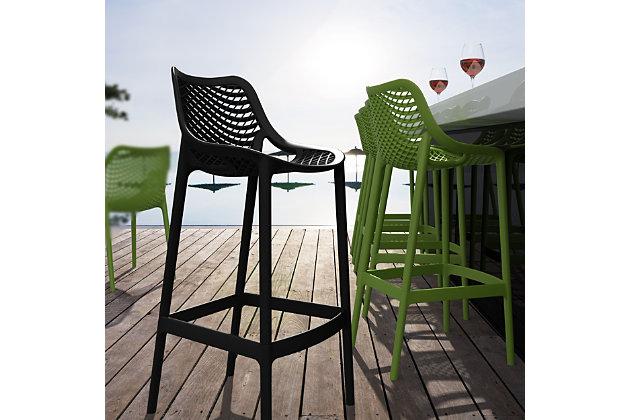 Siesta Outdoor Air Bar Stool Black (Set of 2), Black, large