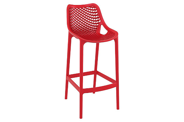 Siesta Outdoor Air Bar Stool Red (Set of 2), Red, large