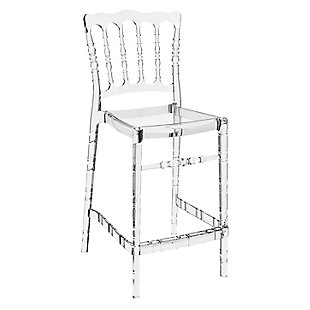 Siesta Outdoor Opera Counter Stool Transparent Clear (Set of 2), Transparent Clear, large