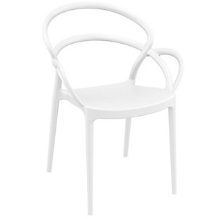Siesta Outdoor Mila Dining Arm Chair White (Set of 2), White, large