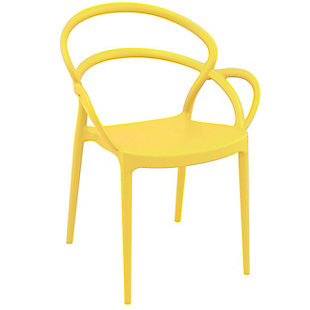 Siesta Outdoor Mila Dining Arm Chair Yellow (Set of 2), Yellow, large