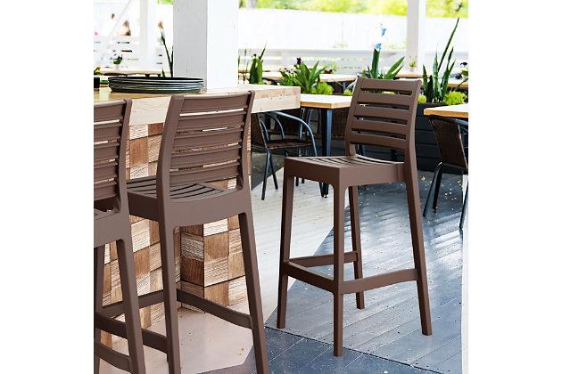 Siesta Outdoor Ares Bar Stool Brown (Set of 2), Brown, large