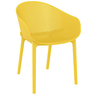 Siesta Outdoor Sky Dining Chair Yellow (Set of 2), Yellow, large