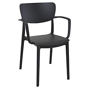 Siesta Outdoor Lisa Dining Arm Chair Black (Set of 2), Black, large
