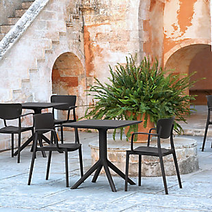 Siesta Outdoor Loft Dining Arm Chair Black (Set of 2), Black, rollover