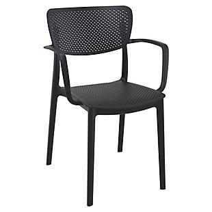 Siesta Outdoor Loft Dining Arm Chair Black (Set of 2), Black, large