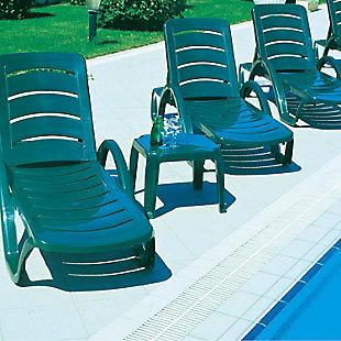 Siesta Outdoor Sunray Square Side Table Green (Set of 2), Dark Green, rollover