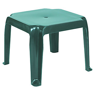 Siesta Outdoor Sunray Square Side Table Green (Set of 2), Dark Green, large