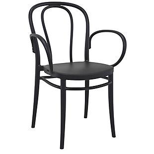 Siesta Outdoor Victor XL Arm Chair Black (Set of 2), Black, large