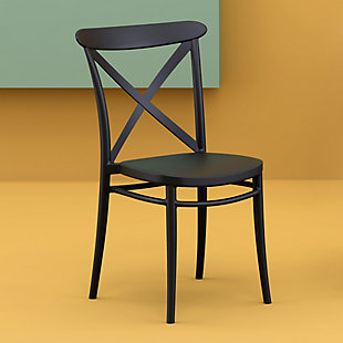 Siesta Outdoor Cross Chair Black (Set of 2), Black, rollover