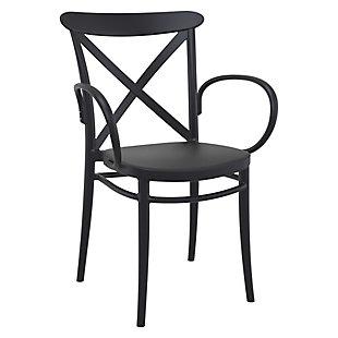 Siesta Outdoor Cross XL Arm Chair Black (Set of 2), Black, large
