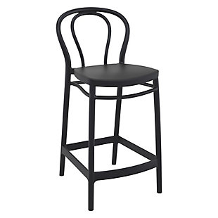 Siesta Outdoor Victor Counter Stool Black (Set of 2), Black, large
