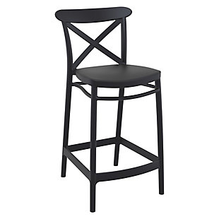 Siesta Outdoor Cross Counter Stool Black (Set of 2), Black, large