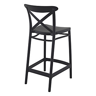 Siesta Outdoor Cross Counter Stool Black (Set of 2), Black, large
