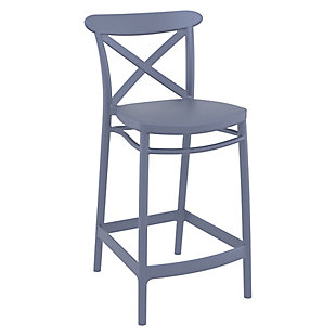 Siesta Outdoor Cross Counter Stool Dark Gray (Set of 2), , large