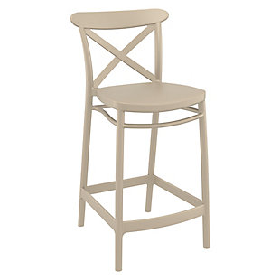 Siesta Outdoor Cross Counter Stool Taupe (Set of 2), , large