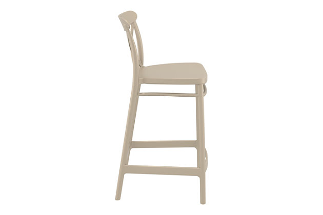 Siesta Outdoor Cross Counter Stool Taupe (Set of 2), Taupe, large