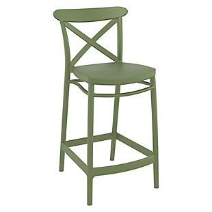 Siesta Outdoor Cross Counter Stool Olive Green (Set of 2), , rollover