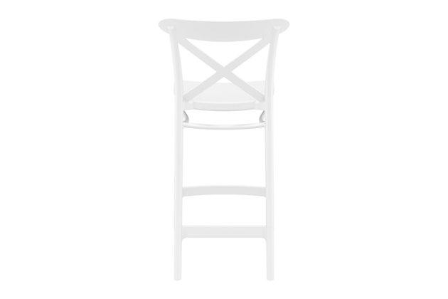 Siesta Outdoor Cross Counter Stool White (Set of 2), White, large