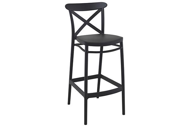 Siesta Outdoor Cross Bar Stool Black (Set of 2), Black, large