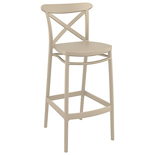 Siesta Outdoor Cross Bar Stool Taupe (Set of 2), , large