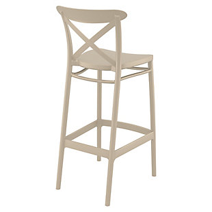 Siesta Outdoor Cross Bar Stool Taupe (Set of 2), Taupe, large