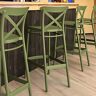 Siesta Outdoor Cross Bar Stool Olive Green (Set of 2), Olive Green, large