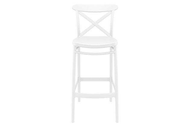 Siesta Outdoor Cross Bar Stool White (Set of 2), White, large
