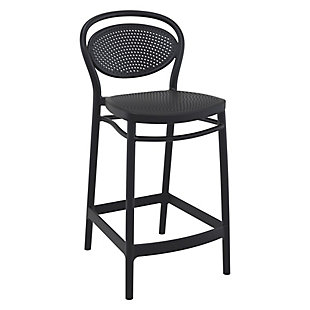 Siesta Outdoor Marcel Counter Stool Black (Set of 2), Black, large