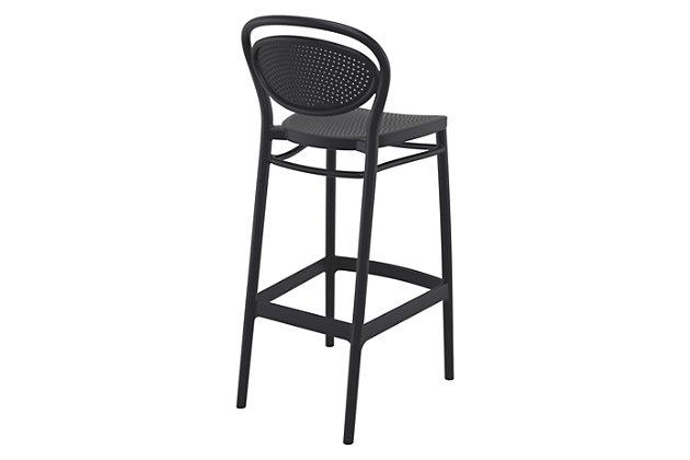 Siesta Outdoor Marcel Bar Stool Black (Set of 2), Black, large