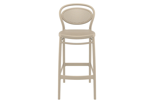 Siesta Outdoor Marcel Bar Stool Taupe (Set of 2), Taupe, large