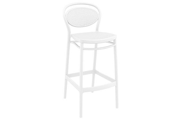 Siesta Outdoor Marcel Bar Stool White (Set of 2), White, large