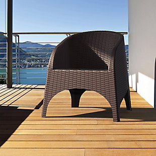 Siesta Outdoor Aruba Wickerlook Chair Brown (Set of 2), Brown, large