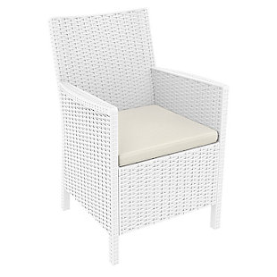 Siesta Outdoor California Wickerlook Chair White with Natural Cushion (Set of 2), White, large