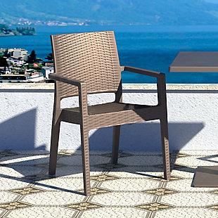 Siesta Outdoor Ibiza Wickerlook Dining Arm Chair Brown (Set of 2), Brown, rollover